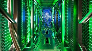 A rare look behind the server aisle in Mayes County, Okla. Hundreds of fans funnel hot air from the server racks into a cooling unit to be recirculated. This is the first time Google has opened the doors of its data centers to outsiders.