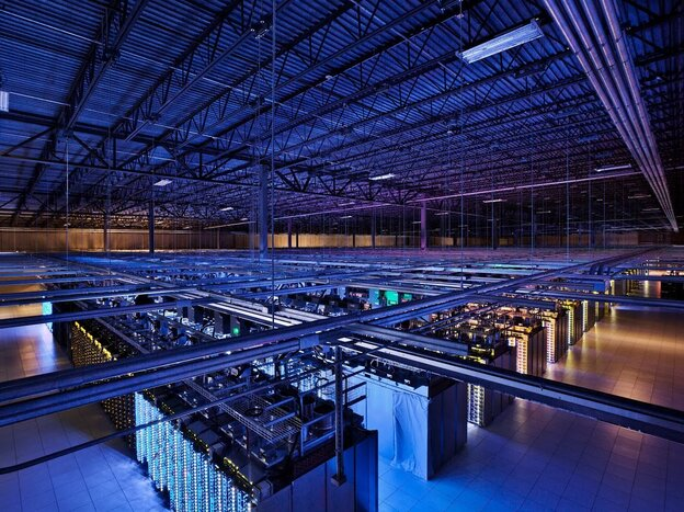 Google's data center in Council Bluffs, Iowa, houses servers in over 115,000 square f