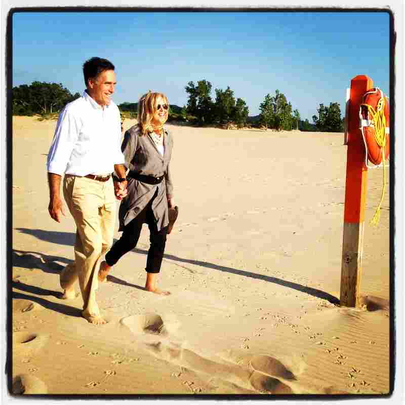 Mitt and Ann stroll down to Lake Michigan. @ashleyrparker