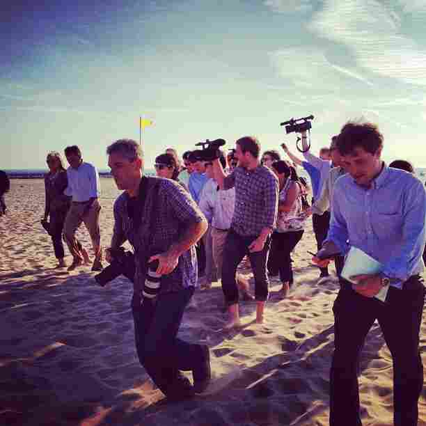 There is something supremely amusing about watched an out-of-shape press corps (self included) race after Romney on the sand. @ashleyrparker