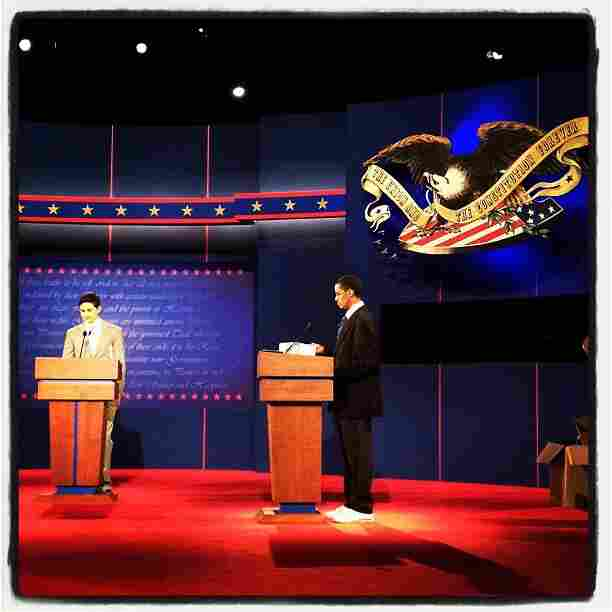 Obama and Romney stand ins during debate prep in Denver, CO @sullyfoto