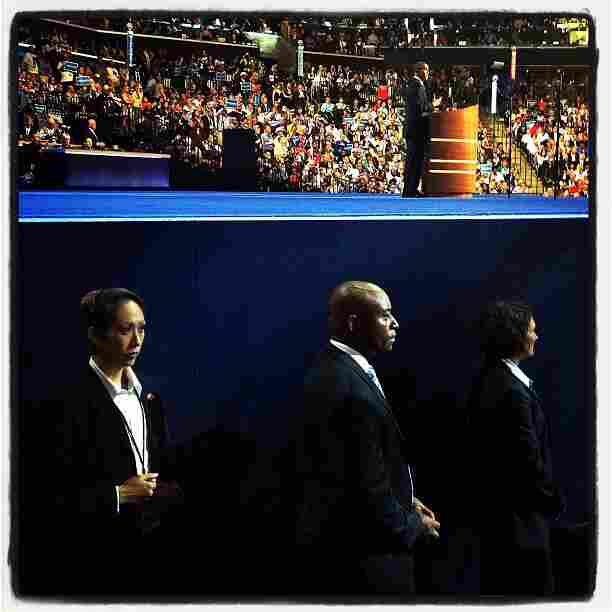 Secret Service and Obama at the DNC. @sullyfoto
