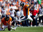 Place kicker Matt Prater of the Denver Broncos kicks a second quarter field goal on a hold by Britton Colquitt against the Houston Texans at Sports Authority Field Field at Mile High in Denver on Sept. 23.