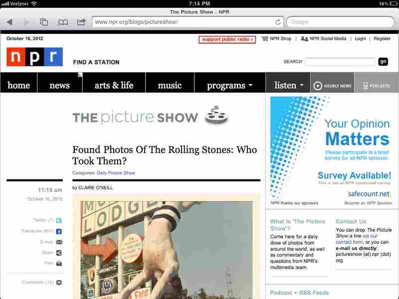 Before: The Picture Show blog on a tablet device.
