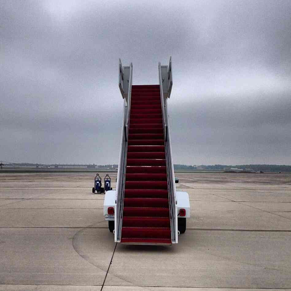 Waiting for President Obama at Andrews Air Force Base - stairs to nowhere. @evanvucci