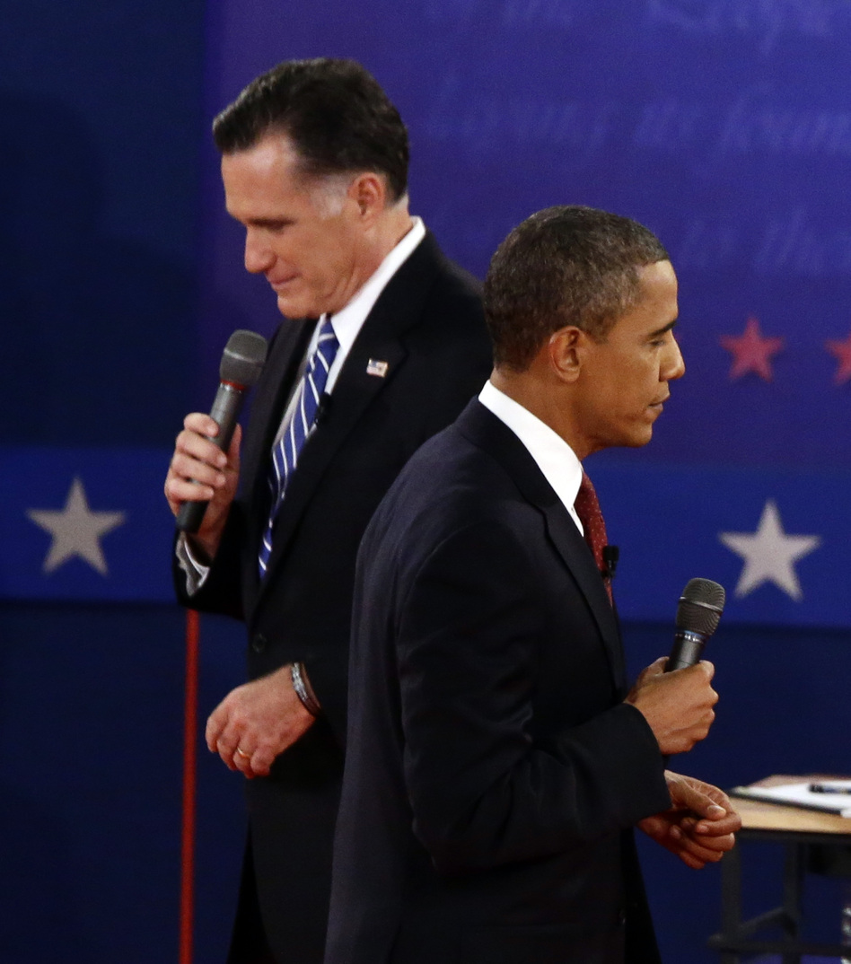 President Obama and former Massachusetts Gov. Mitt Romney participate in the second presidential debate at Hofstra University in Hempstead, N.Y., on Tuesday.