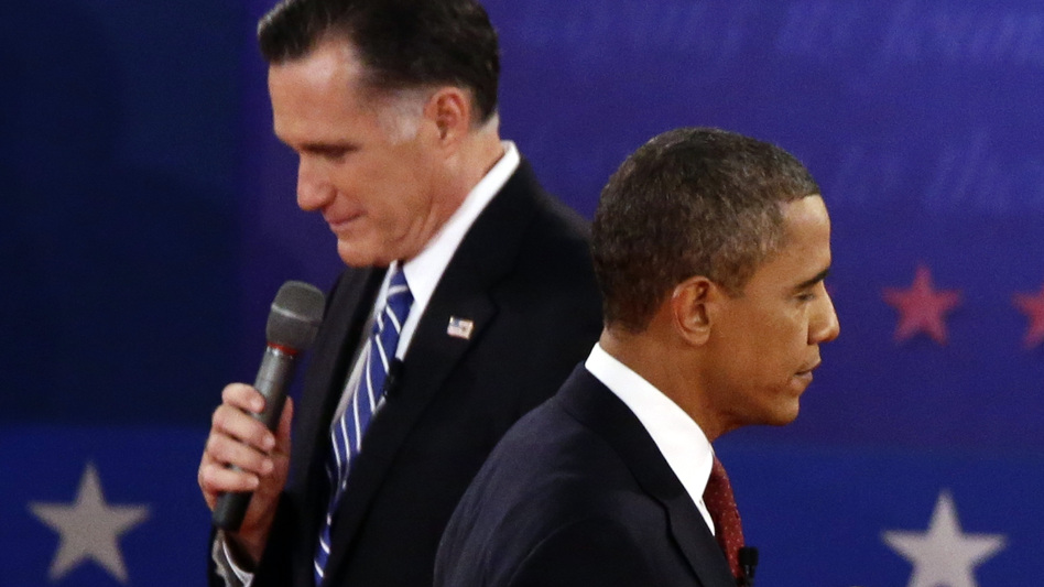 President Obama and former Massachusetts Gov. Mitt Romney participate in the second presidential debate at Hofstra University in Hempstead, N.Y., on Tuesday. (AP)