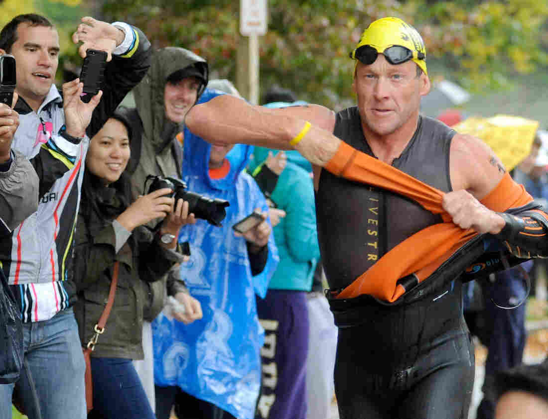 Lance Armstrong competes in the Rev3 Half Full Triathalon Sunday in Ellicott City, Md. Armstrong joined other cancer survivors in the event, which raised funds for the Ulman Cancer Fund for Young Adults.