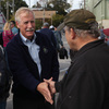 Former Maine Gov. Angus King, an independent candidate for the U.S. Senate, greets potential voters Oct. 1 in Bath, Maine.