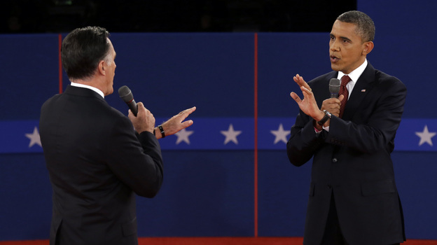 Republican presidential nominee Mitt Romney and President Obama spar over energy policy during the second presidential debate at Hofstra University on Tuesday. (AP)