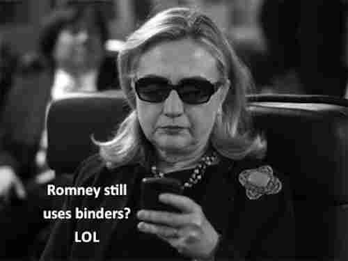 This one makes fun using a photograph of Secretary of State Hillary Clinton that went viral in the past.