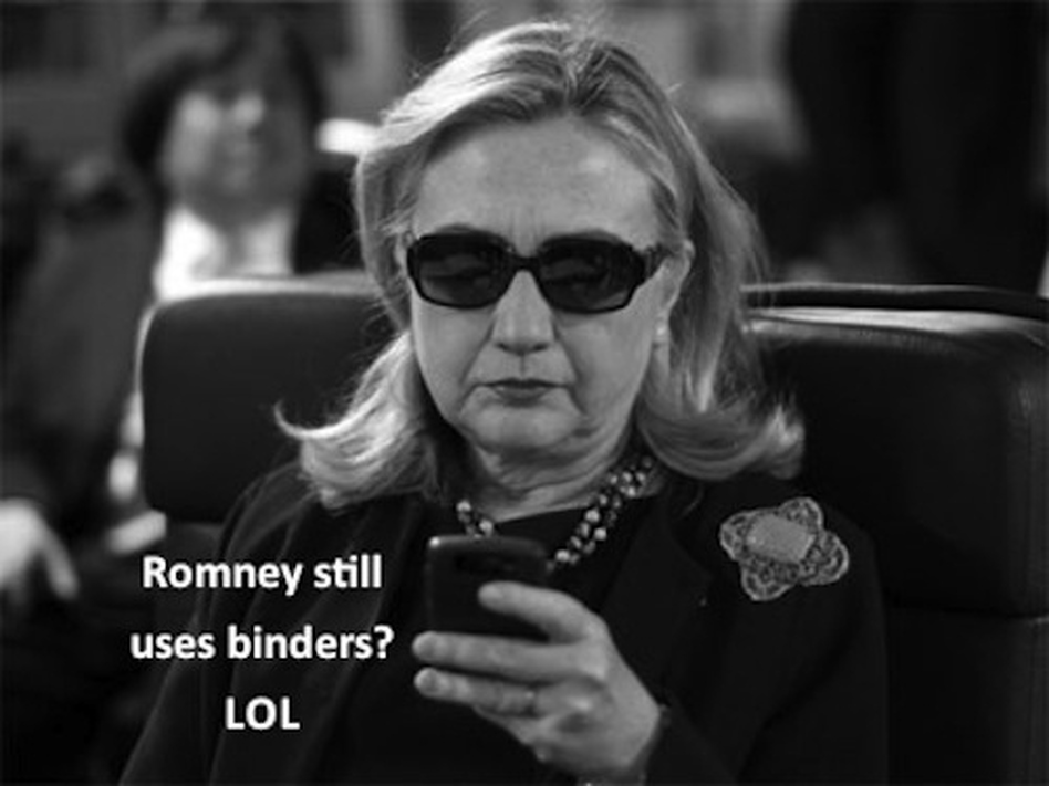 This one makes fun using a photograph of Secretary of State Hillary Clinton that went viral in the past. (Tumblr)