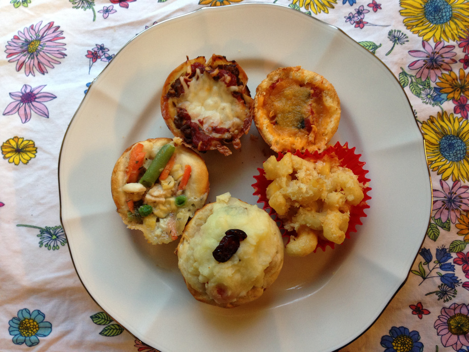 Five savory cupcakes: Chicken potpie, lasagna, grilled cheese, macaroni and cheese, and Thanksgiving leftovers.