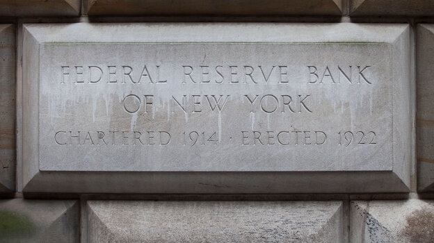 A cornerstone at the Federal Reserve Bank of New York in Manhattan.