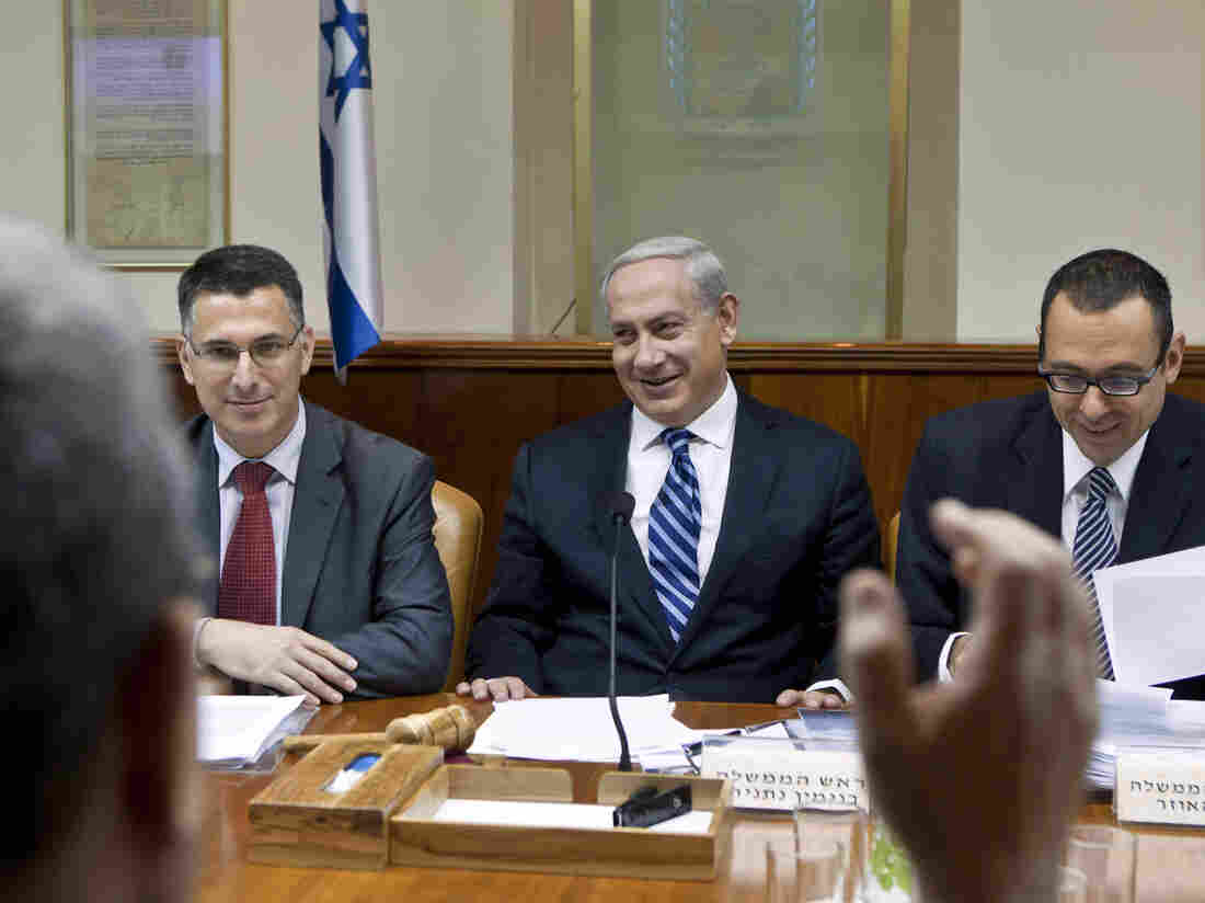 Israeli Prime Minister Benjamin Netanyahu chairs the weekly Cabinet meeting at his offices in Jerusalem in October. A new report shows that Netanyahu raised more than 90 percent of his campaign money in the United States.