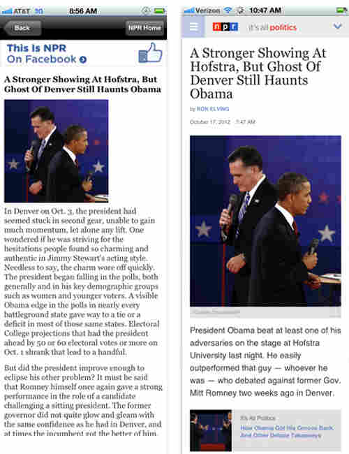 Before and after: The It's All Politics blog on a mobile device.