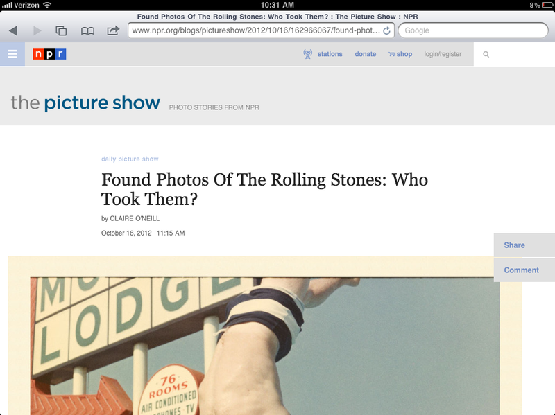 After: The Picture Show blog on a tablet device.