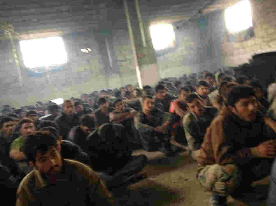 Here are some of the nearly 300 Syrian soldiers being held as prisoners in Khirbet al-Joz. Activists say they saw no sign of torture or abuse directed against the captives, who include Alawites, Christians and Shiite Muslims, all minority communities in Syria.