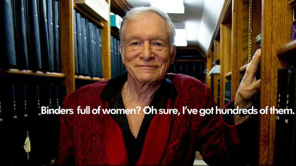 "This photo of Playboy's Hugh Hefner was published on a Tumblr blog devoted to poking fun at the ""women full of binders"" meme. (Tumblr)"