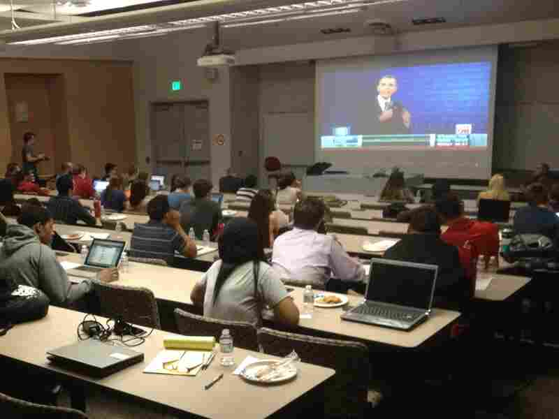 Debate watchers at the University of Nevada, Las Vegas, check out President Obama's performance Tuesday night.