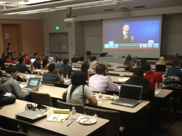 Debate watchers at the University of Nevada, Las Vegas, check out President Obama's performance Tuesday night. (NPR)