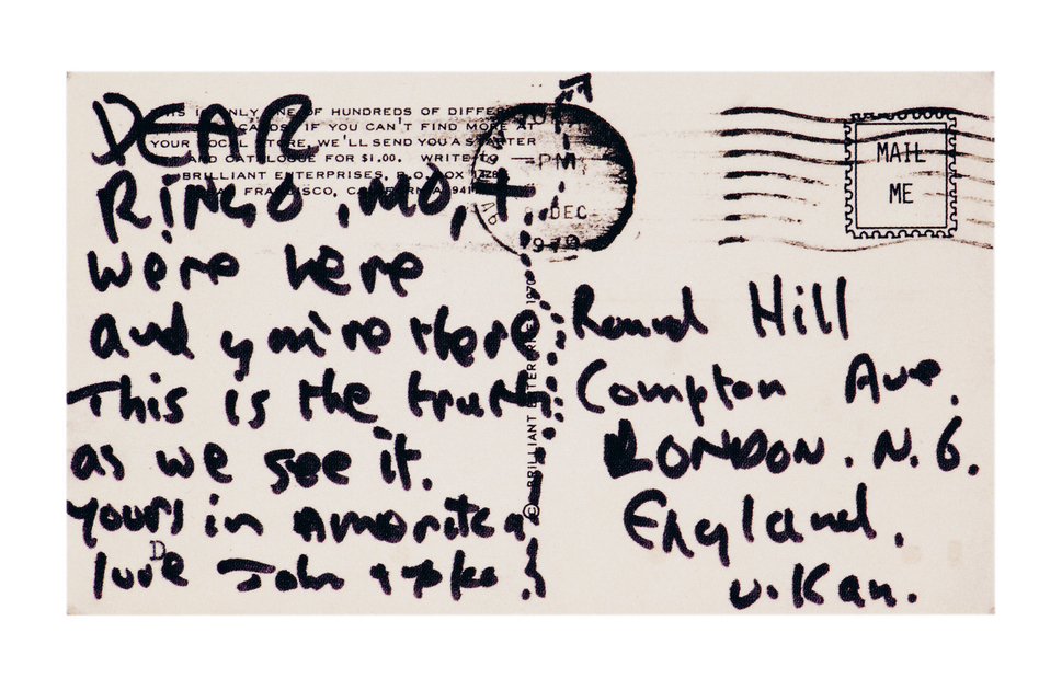 "In December 1970, John Lennon sent fellow Beatle Ringo Starr a postcard that read, ""We're here and you're there. This is the truth as we see it."" (Little, Brown and Co.)"