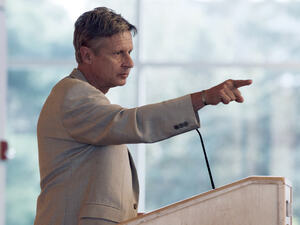 Libertarian Party presidential nominee Gary Johnson addresses students at Macalester College in St. Paul, Minn., in September.
