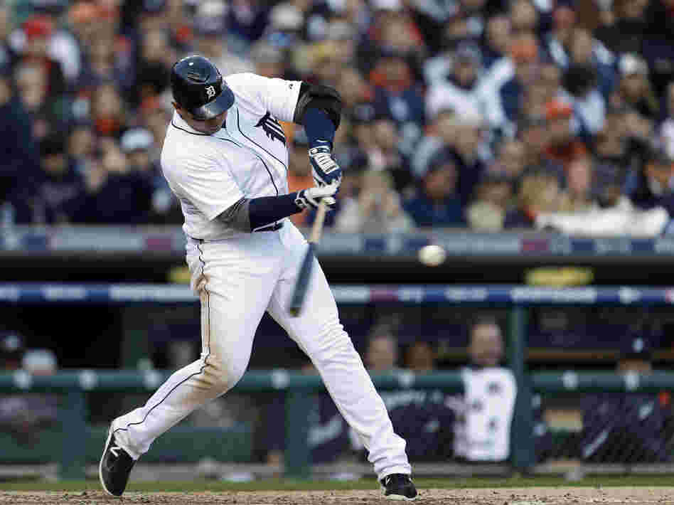Detroit Tigers' Miguel Cabrera hits a two-run home run in the fourth inning during Game 4 of the American League Championship Series against the New York Yankees Thursday.