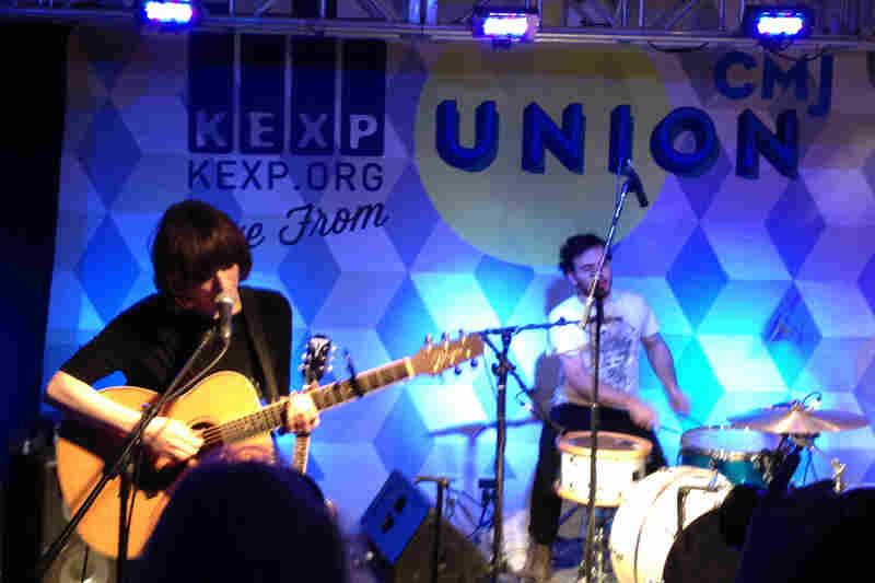 Elena Tonra (left) led the British trio Daughter at an event broadcast from the Union Square Ballroom by Seattle's KEXP.
