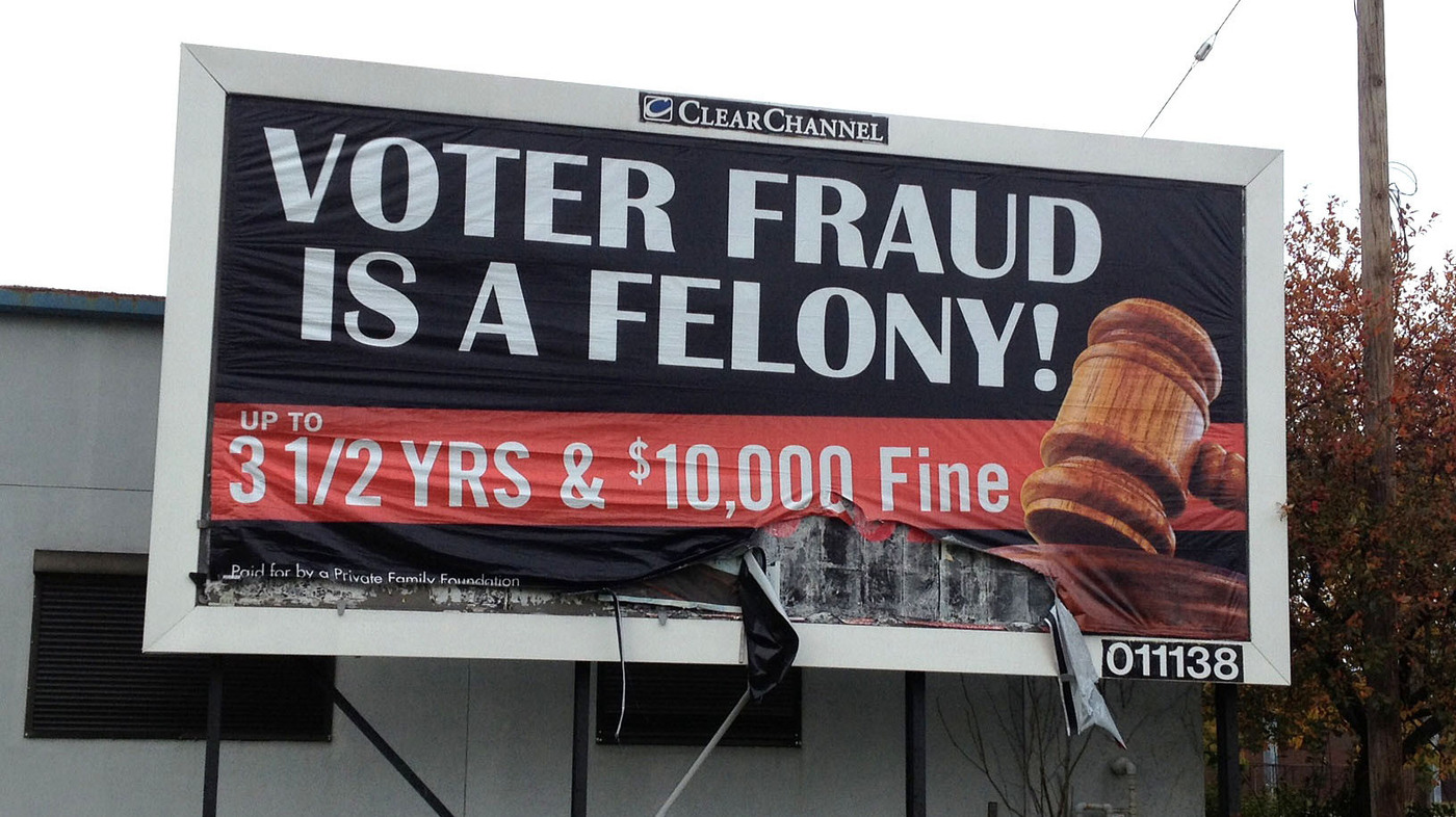 Swing-State Billboards Warning Against Voter Fraud Stir Backlash : It's All  Politics : NPR