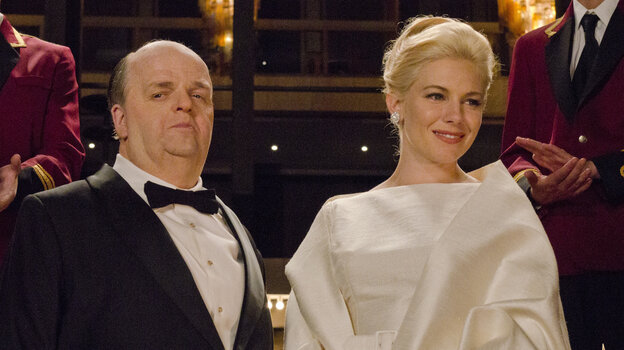 Tippi Hedren (played by Sienna Millier) starred in two of Alfred Hitchcock's (Toby Jones) films: Marnie and The Birds.