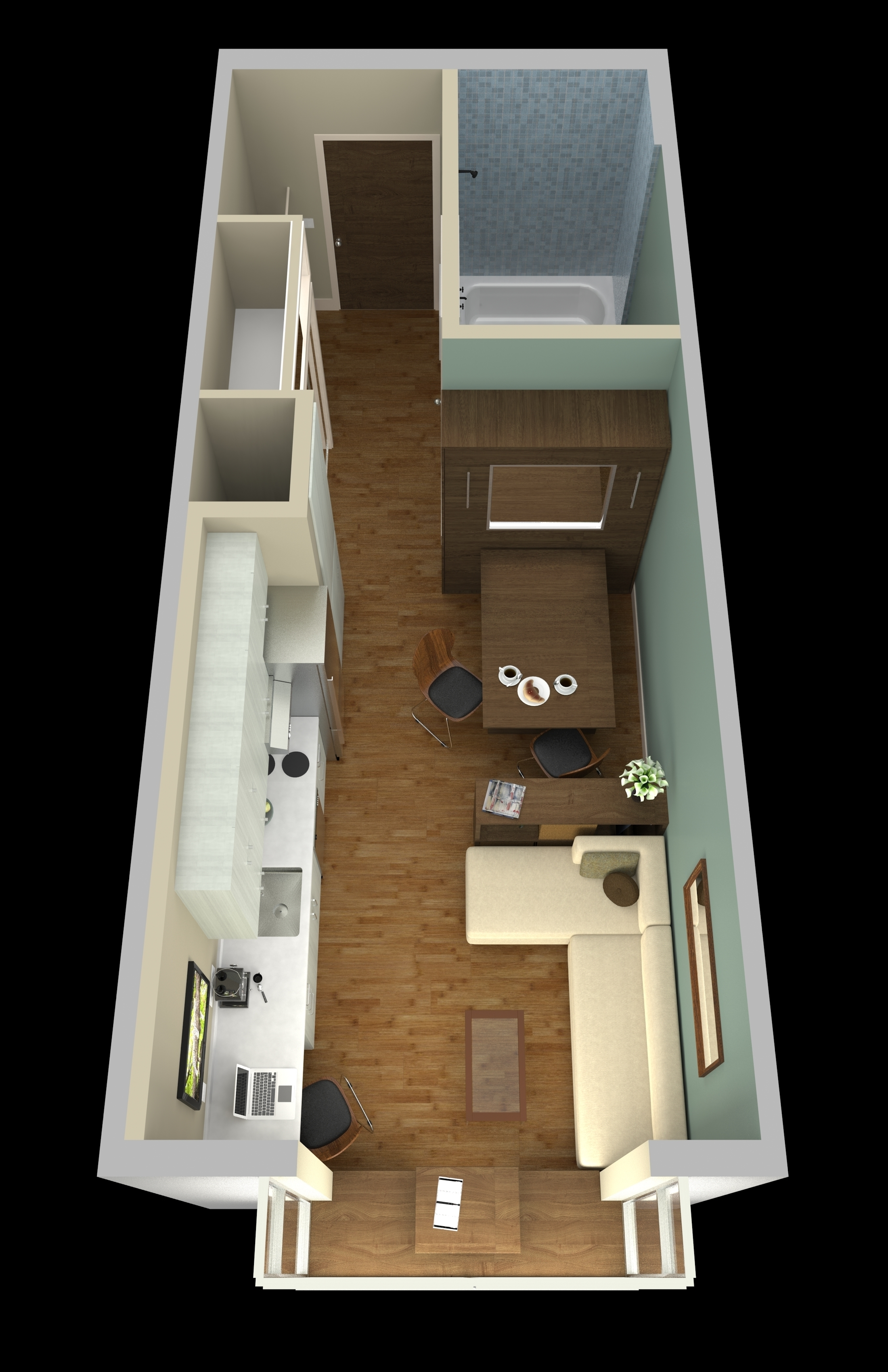 Spaces must serve double duty in micro-units -- like the dining table above that converts into a Murphy bed.