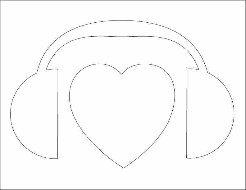 NPR heart headphones stencil.