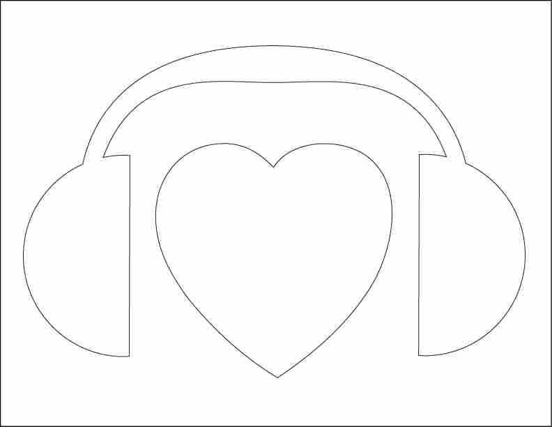 NPR heart headphones stencil.