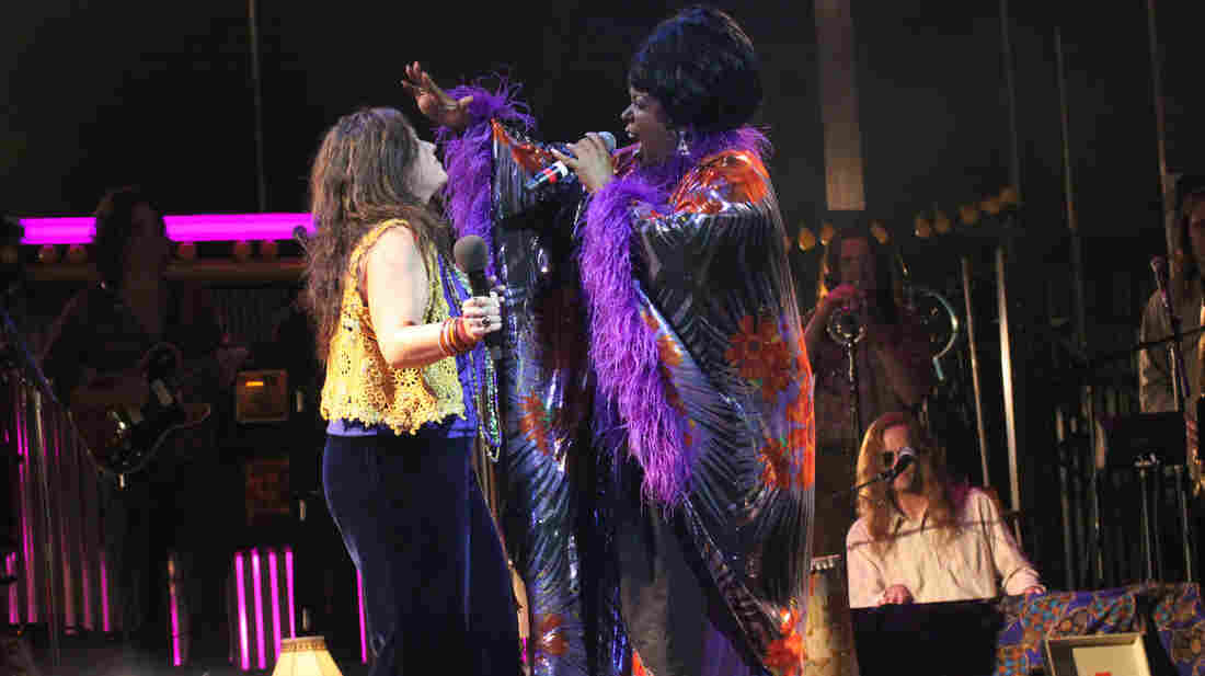 Mary Bridget Davies as Janis Joplin and Sabrina Elayne Carten as Blues Singer in the Cleveland Play House production of One Night with Janis Joplin.