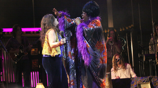 Mary Bridget Davies as Janis Joplin and Sabrina Elayne Carten as Blues Singer in the Cleveland Play House production of One Night with Janis