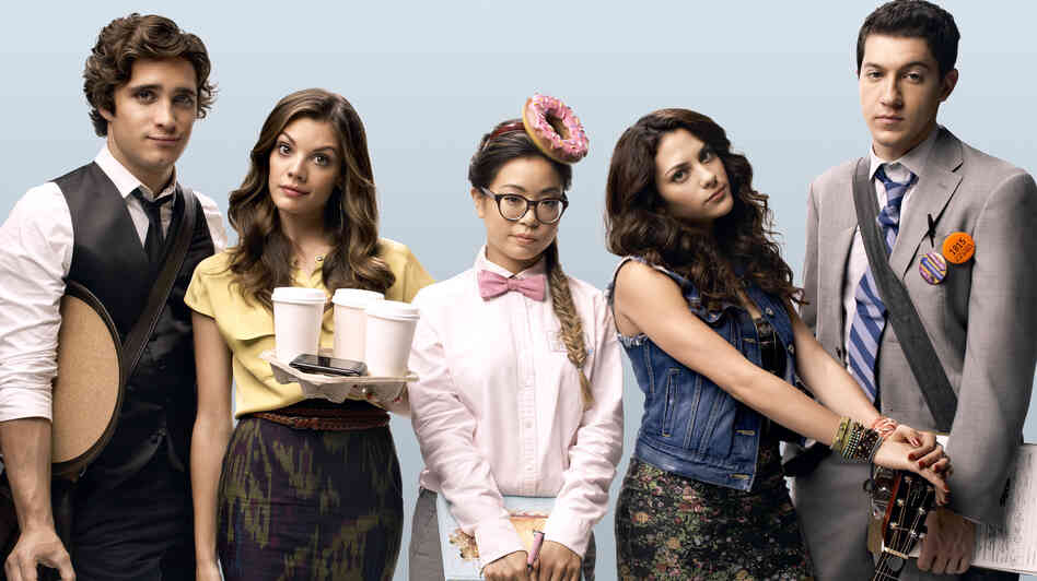Diego Boneta, Sarah Habel, Michelle Ang, Inbar Lavi and Jared Kusnitz of MTV's Underemployed.