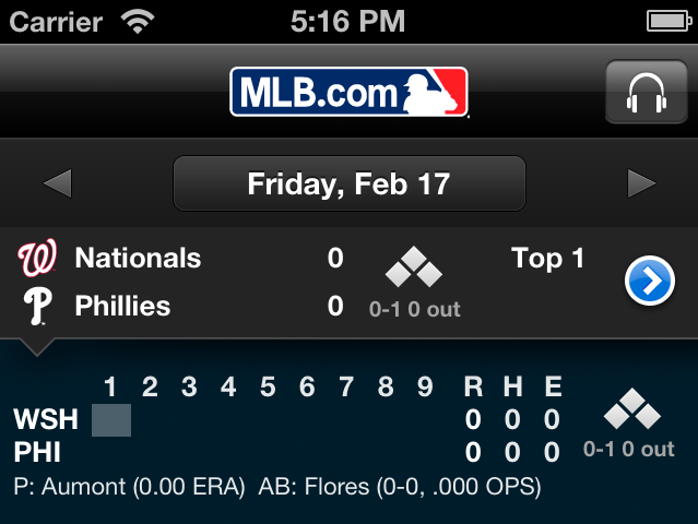 The iPhone version of MLB At Bat collects the most relevant information in one place.