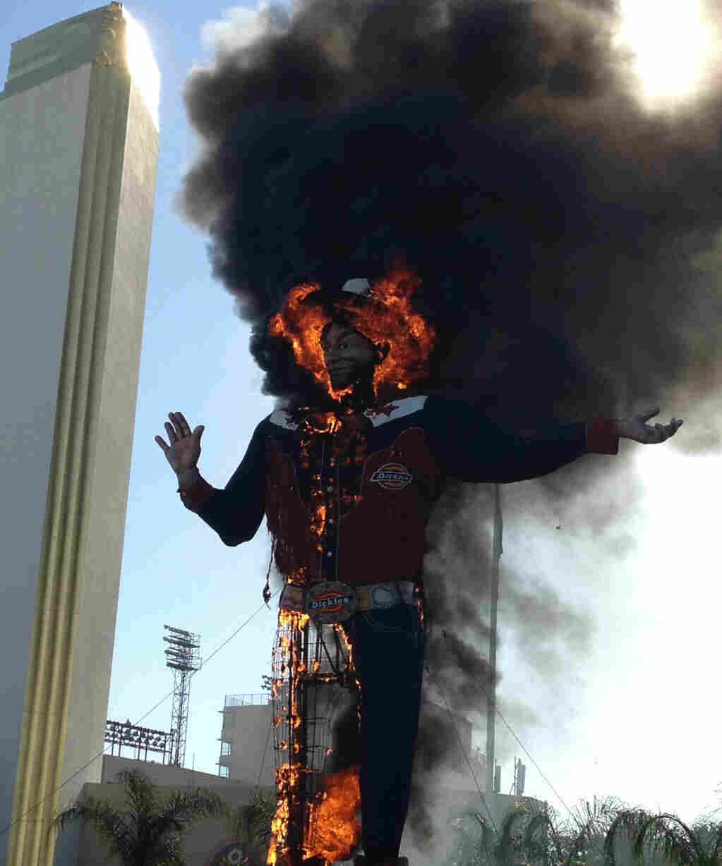 Big Tex goes up in flames.