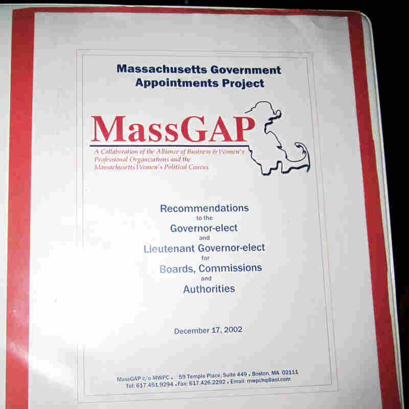 The cover of a binder produced in 2002 by the Massachusetts Government Appointments Project, listing names of potential female candidates for high-level positions in the state. The photo was released Wednesday by the Massachusetts Women's Political Caucus.