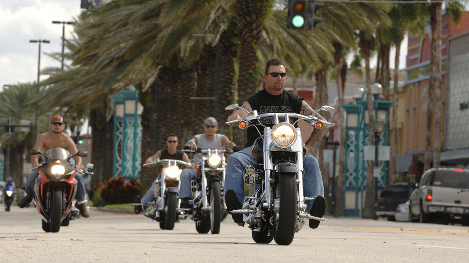 "Annual ""Biketoberfest"" participants ride along Beach Street in downtown Daytona Beach, Fla., in 2010. (Daytona Beach Visitors Bureau)"