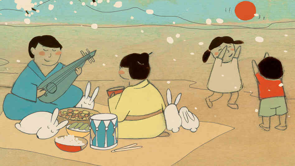 Illustrated by Kristiana Parn, the booklet for Rabbit Days and Dumplings contains notes about each song and its East Asian origins, written by Elena Moon Park.