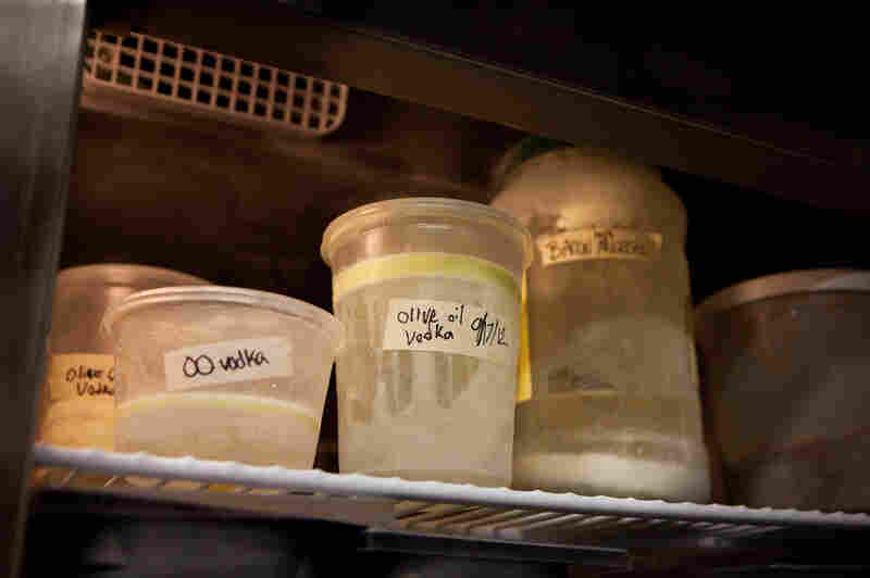 Once the alcohol-fat mixture is blended, Berner lets it cool to room temperature. Then he pours it into a freezer-safe container and freezes it overnight to allow the fat to rise to the surface.