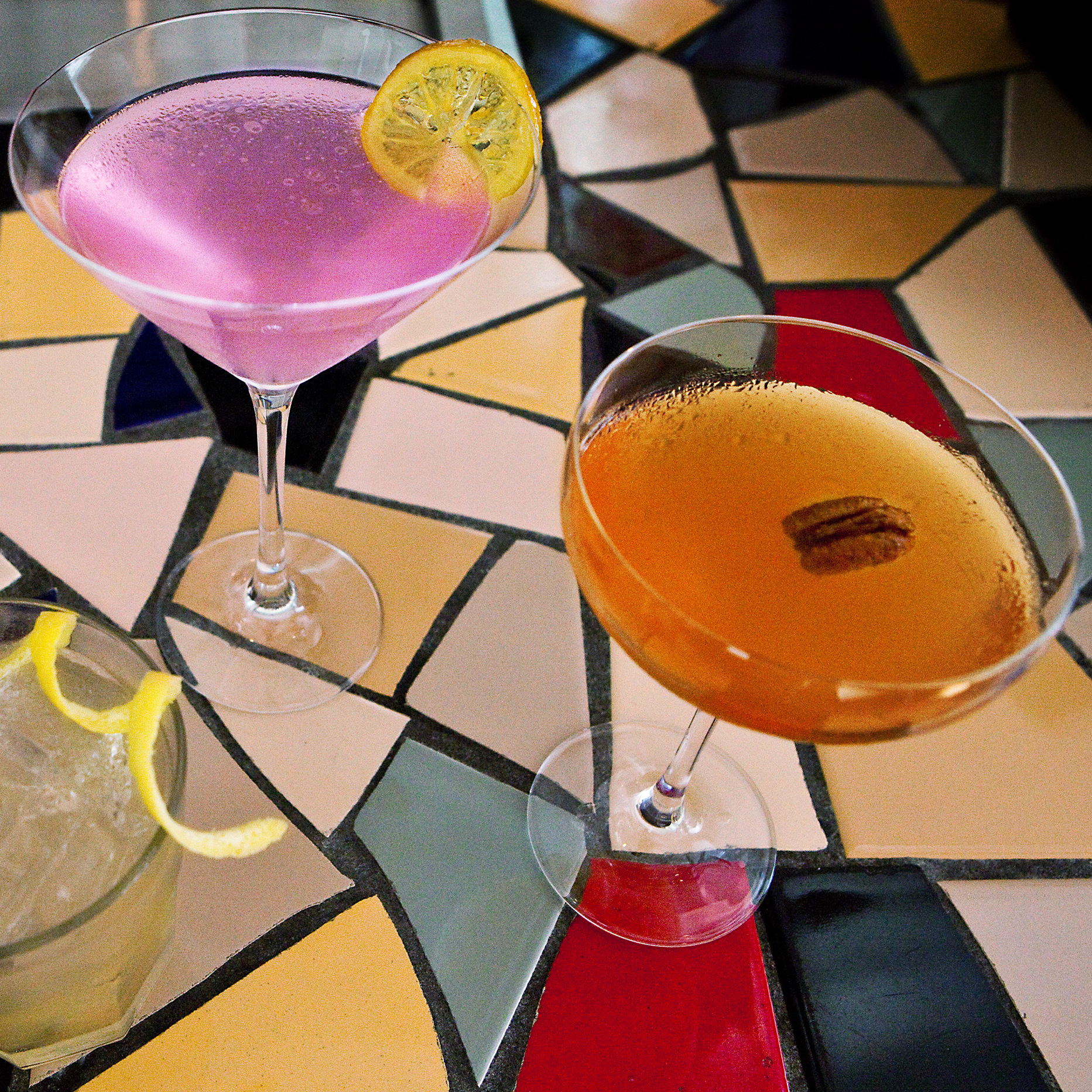 Three of Josh Berner's fat-infused cocktails. From left: Play It Sam, United Colors of Basilton and Chile Manteca Y Dulce. Scroll down for the recipes.