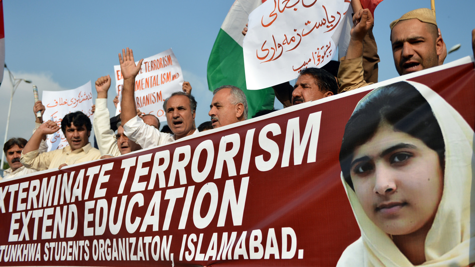 Demonstrators in Islamabad at a protest earlier this week about Malala Yousafzai's shooting.