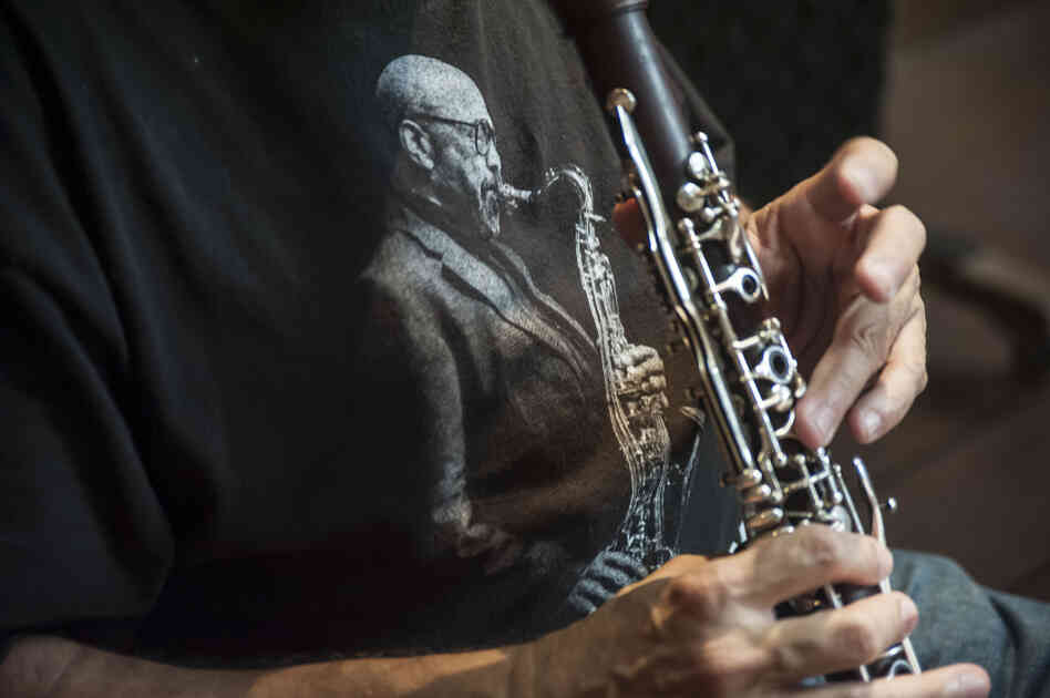 Clarinet and saxophone player Paquito D'Rivera wore a James Moody T-shirt during a recent recording session in Brazil.