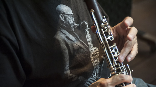 Clarinet and saxophone player Paquito D'Rivera wore a James Moody T-shirt during a recent recording session in Brazil. (Courtesy of the artist)
