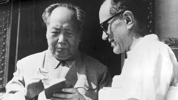 Mao Zedong signs Sidney Rittenberg's copy of The Little Red Book during a gathering of party leaders in Beijing on May 1, 1967, at the beginning of China's Cultural Revolution. (Courtesy of Sidney Rittenberg)