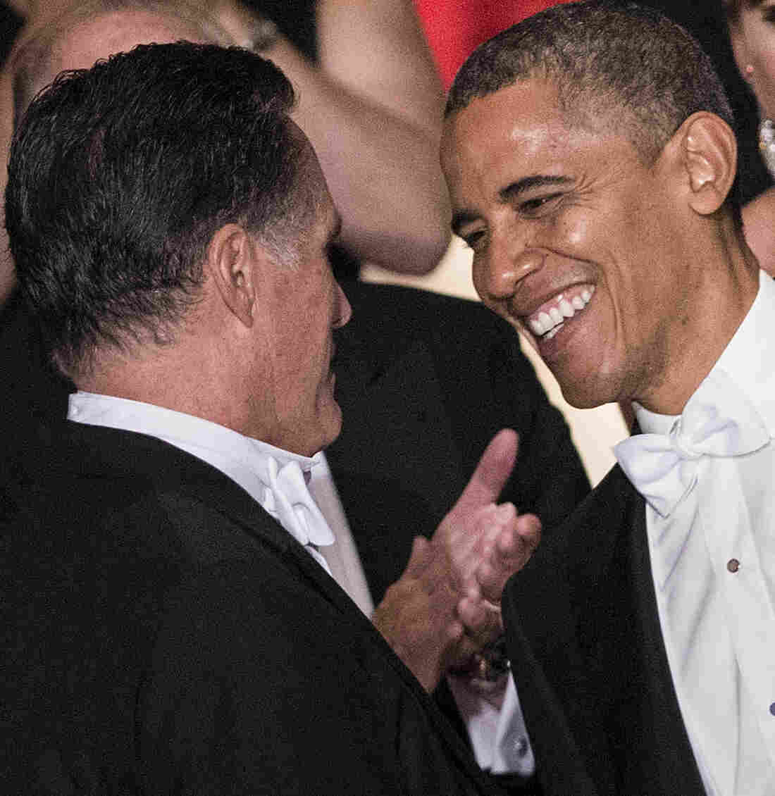 Republican presidential nominee Mitt Romney (left) and President Obama at the 67th Al Smith Dinner in New York City Thursday night.