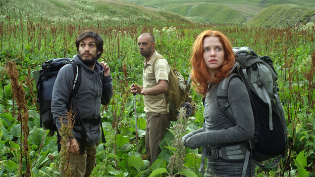 An engaged couple (Gael Garcia Bernal and Hani Furstenberg) backpacks through the Caucasus Mountains with their guide (Bidzina Gujabidze), but their bond is soon tested by fate.